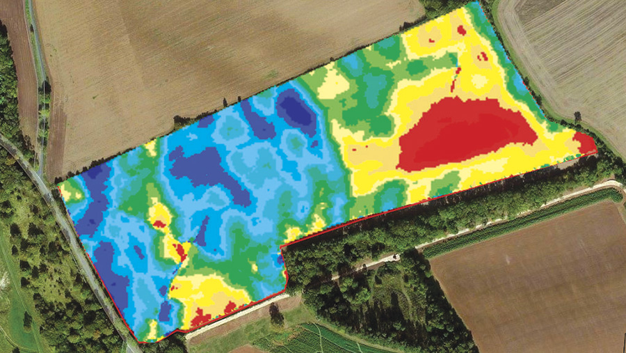 (3) A smoothed yield map post-edit