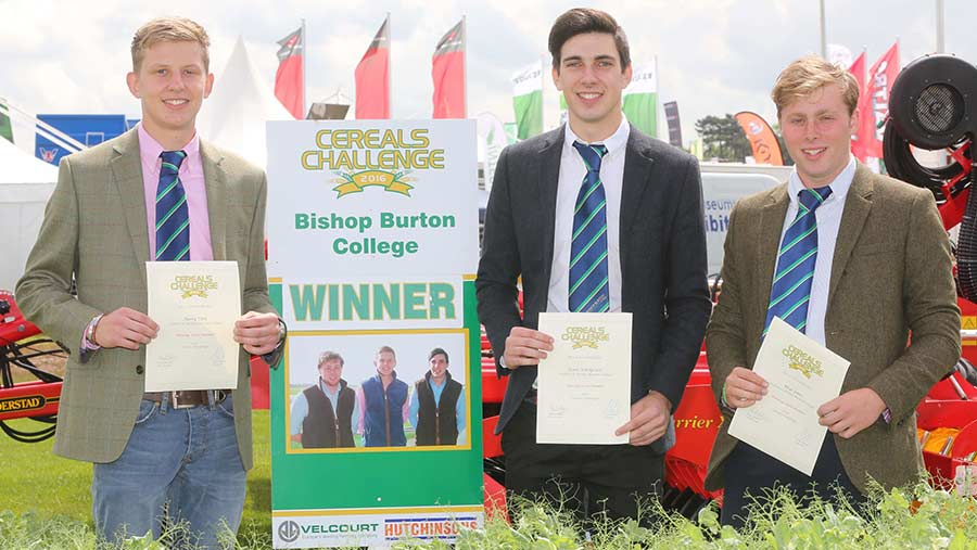 Cereals Challenge winners Harry Torn, Shane Hardgrave and Rhys Jones