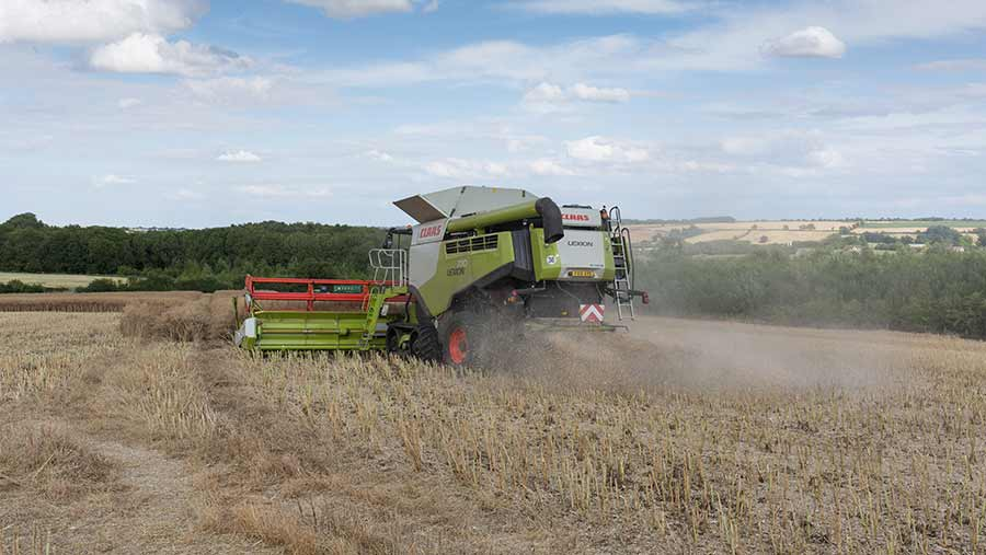 Combining oilseed rape