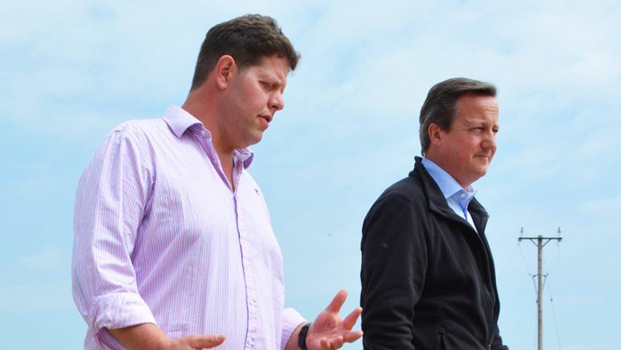 David Cameron with arable farmer and egg producer Mike Wilkinson © Johann Tasker