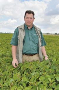 David McNaughton in a soya crop