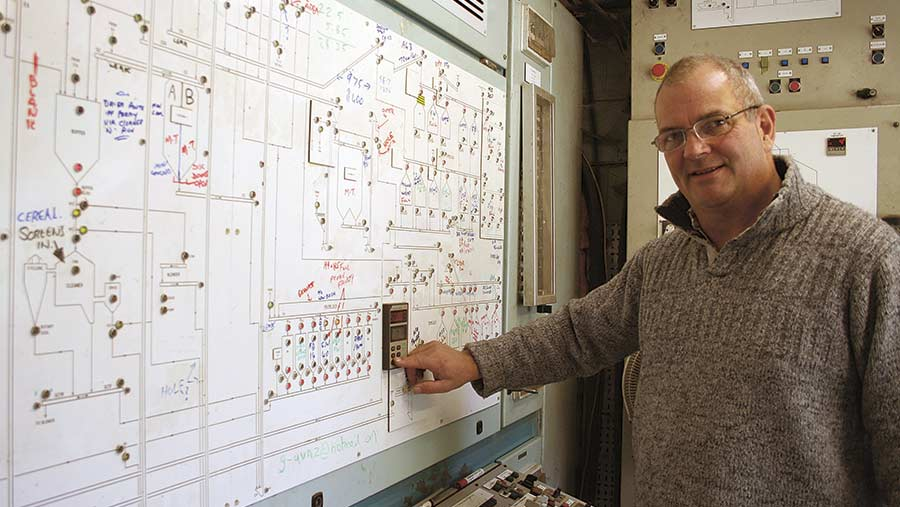 Devon Grain store manager Duncan Lyon with the whiteboard schematic of the handling system © Peter Hill
