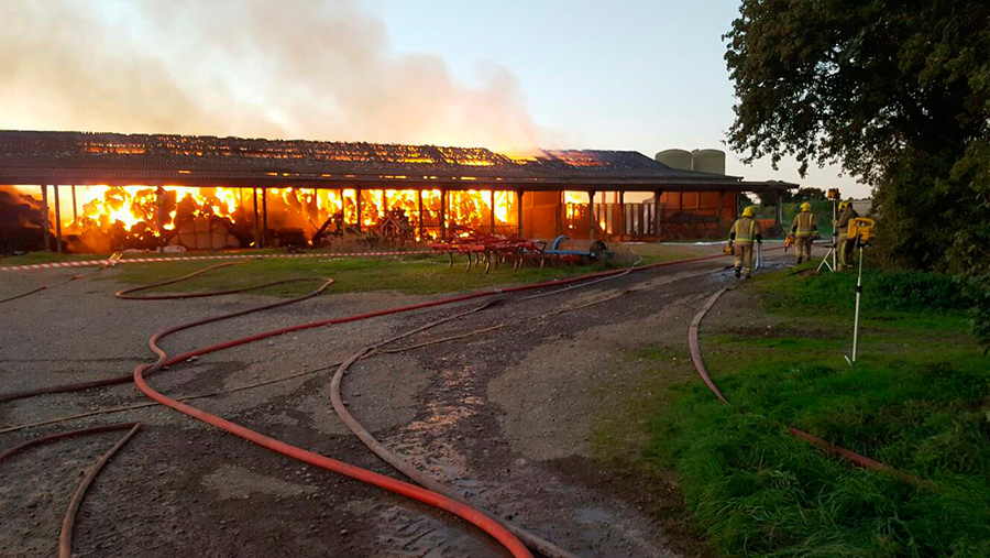 Firefighters battling barn blaze in Dorset