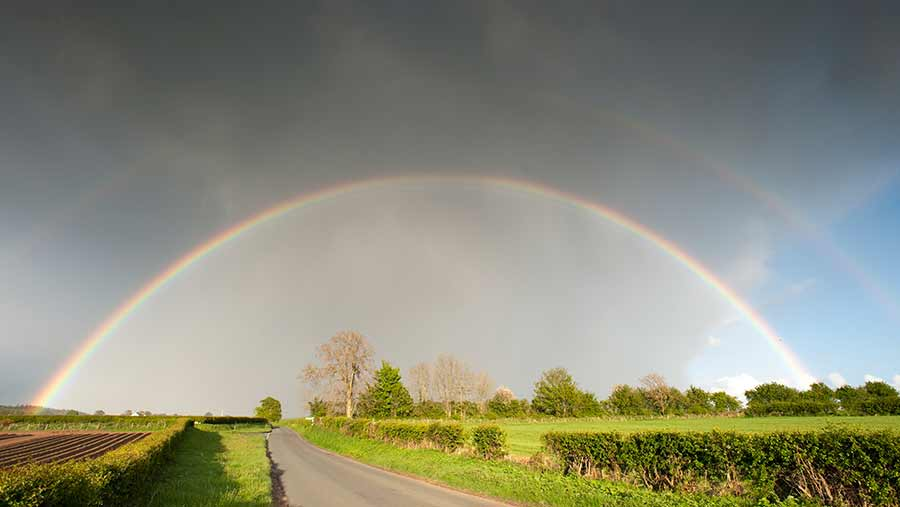 Double rainbow over farmland