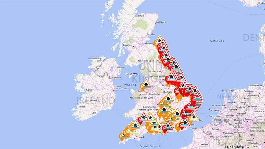 Map with flood warnings