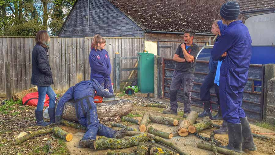 Careless handling of chainsaws can result in serious injuries, young farmers are told © Farm Safety Foundation