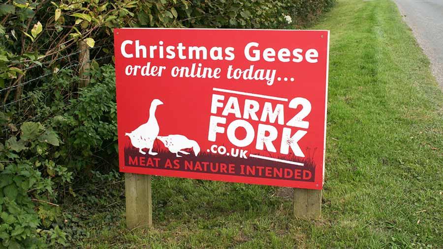 A Farm2Fork sign