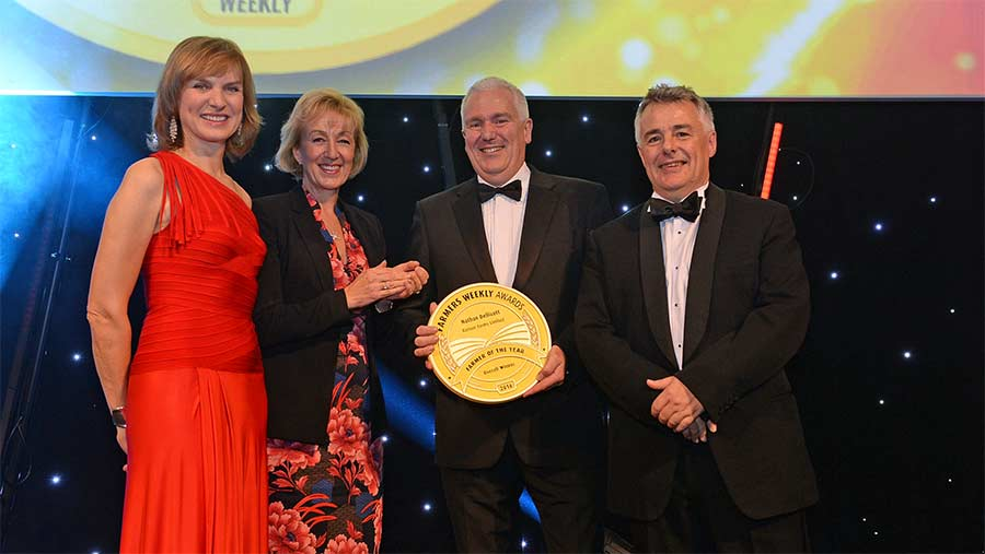 Nathan Dellicott receives his award from Andrea Leadsom with FW's Karl Schneider and Fiona Bruce