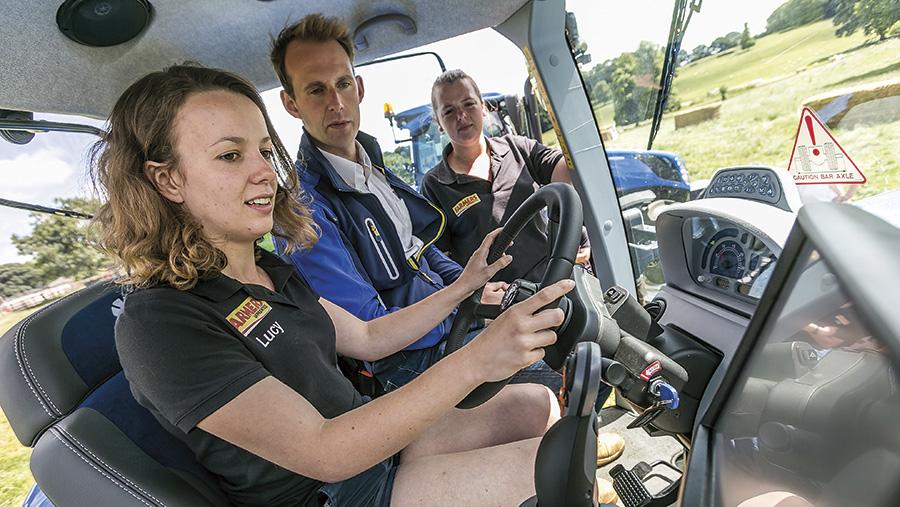 Farmers Apprentice contestants attempt a driving challenge