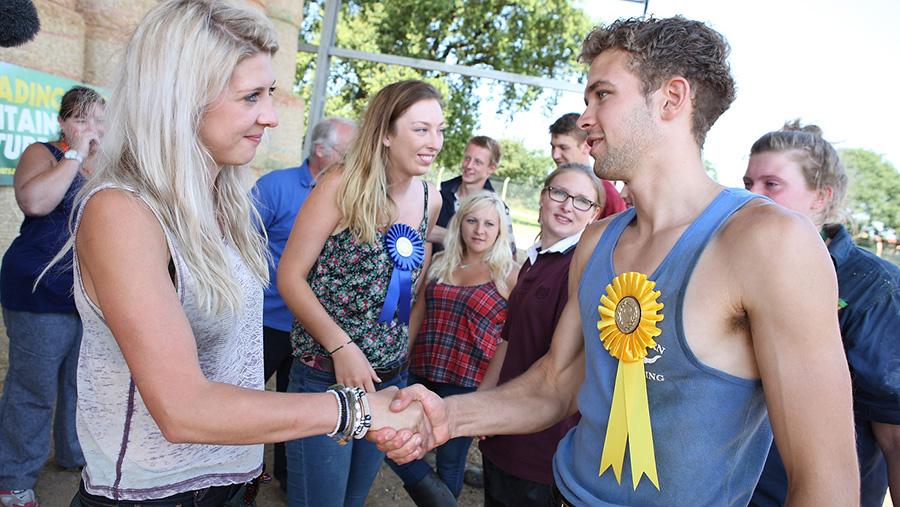 Farmers Apprentice contestants-shake hands