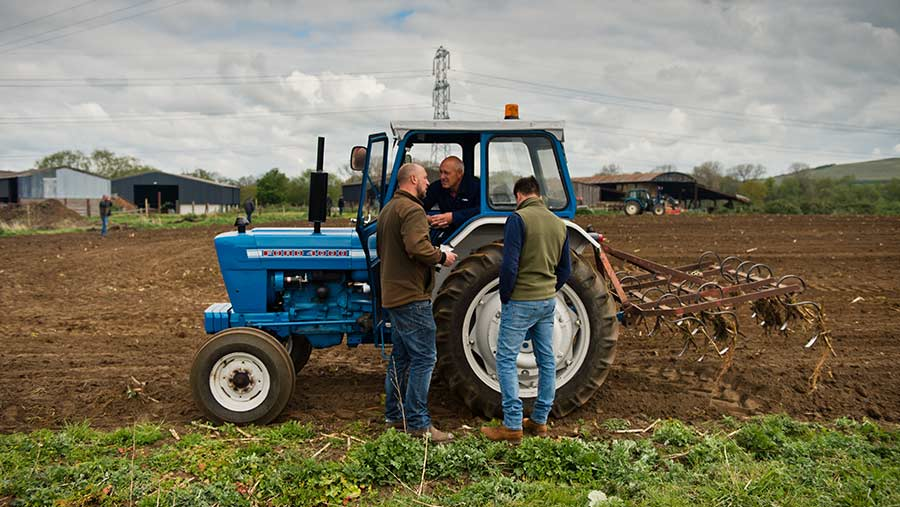Blue Ford tractor