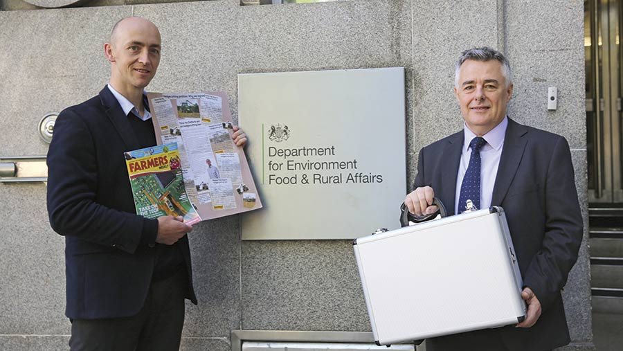 Phil Case and Karl Schneider delivered the petition to Defra