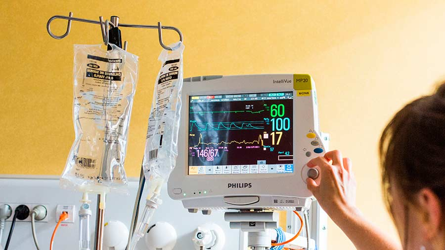 ardiac monitoring on a stroke patient hospitalized in intensive care