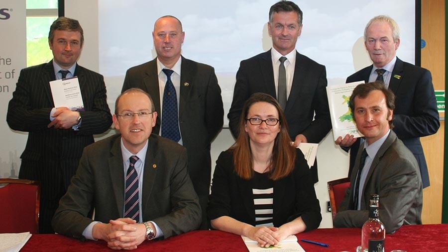 Back row (left to right): David Morgan, representative from Rics; Gethin James, Ukip; Aled Davies, Welsh Conservatives; and Stephen James, president of NFU Cymru. Front row (left to right): Llyr Gruffydd, Plaid Cymru; Kirsty Williams, Lib Dems; and Alex Thomas, Labour © NFU Cymru