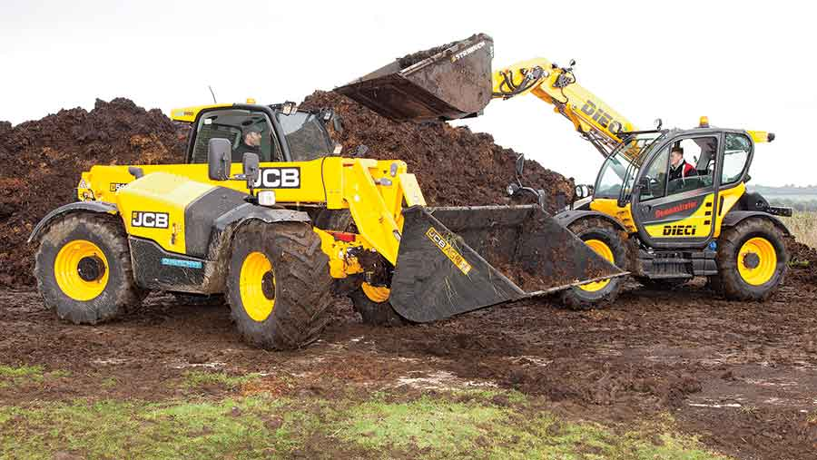 JCB 541-70 and Dieci 40.7 telehandlers at work