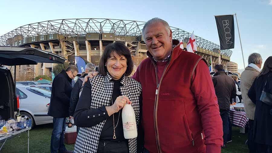 Jo Borroughs and husband David outside Twickenham stadium before the England v France match on Saturday