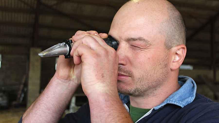 John-Baggs-uses-a-refractometer