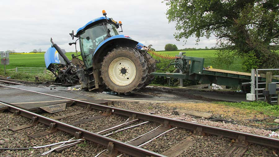The tractor after the accident at the level crossing © British Transport Police