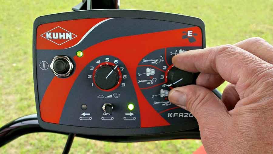 Cab controls of Kuhn mower