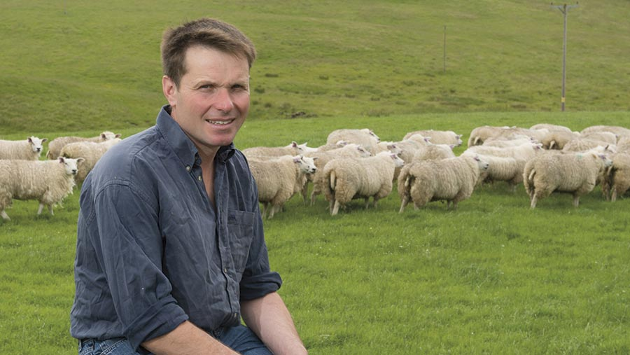 Neil McGowan in a field with sheep