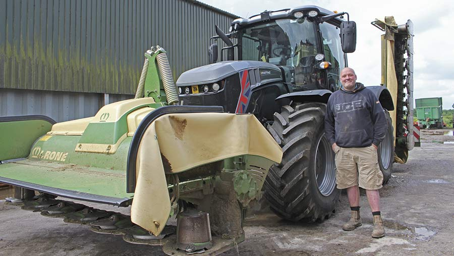 Paul Cornford and Fastrac silver edition with krone mower