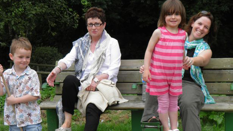 Marian Clode with daughter Lucy and grandchildren