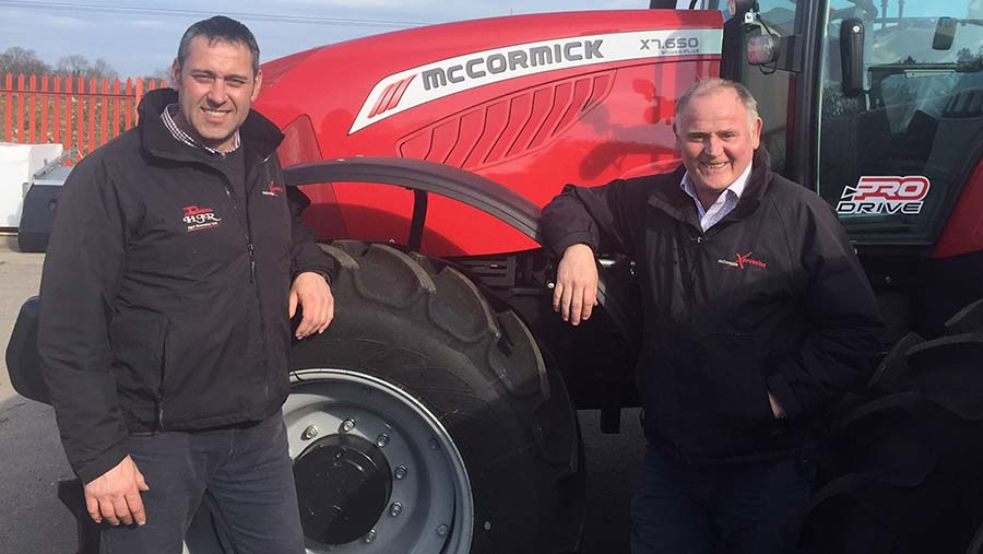 HJR Agri's Rob Owen and Terry Hughes standing in front of a MaCormick tractor