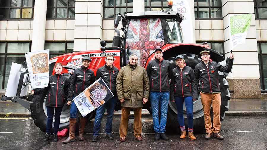 Meurig Raymond (centre) at the Lord Mayor's Show with a tractor and other supporters