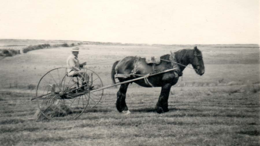 Gilbert Charles on a hay-binder
