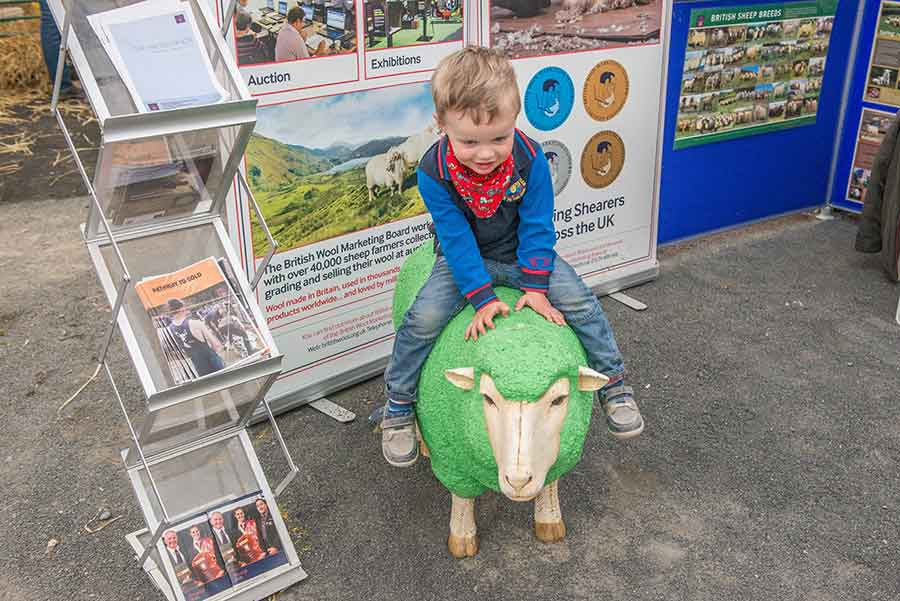 Nathan-Glen-from-Ballynahinch riding on a green sheep
