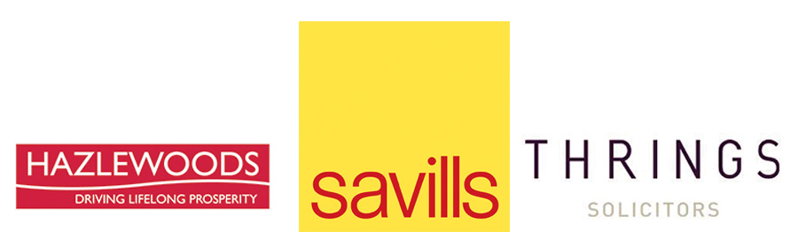 Logos for Savills, Hazlewood and Thrings