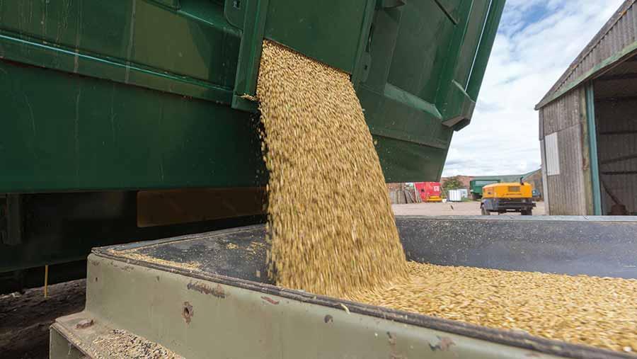 Tipping grain