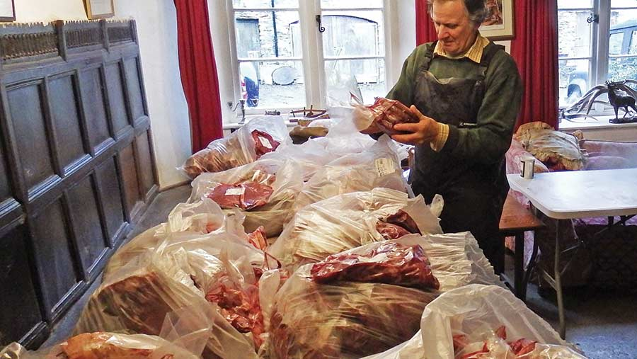 Man inspecting cuts of beef