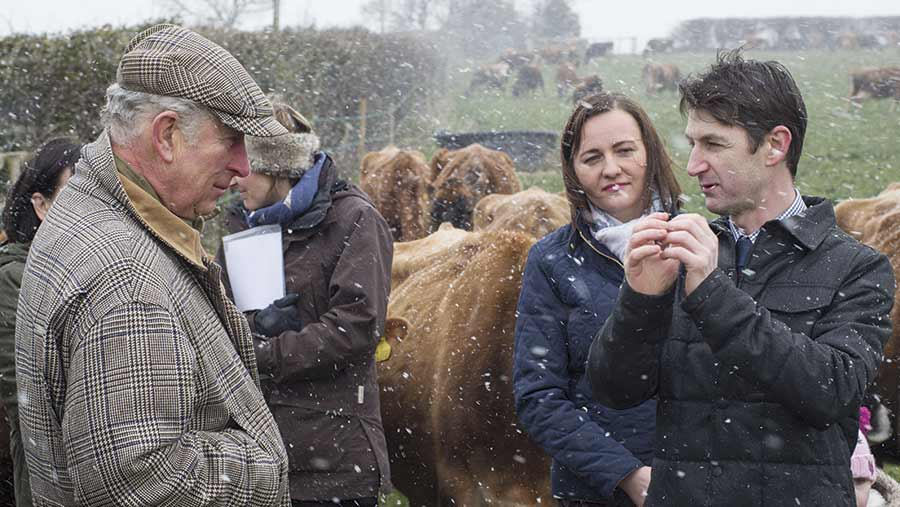 Prince Charles with Justyna and Kevin Hughes on farm