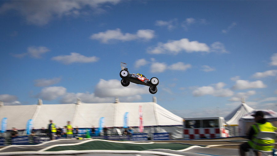 Radio-controlled car in action at Torworth farm track