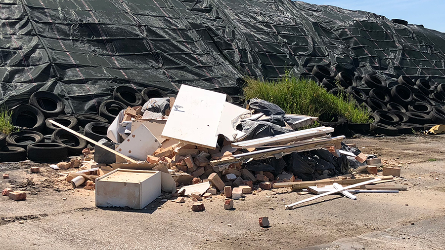 Fly-tipped waste left by travellers