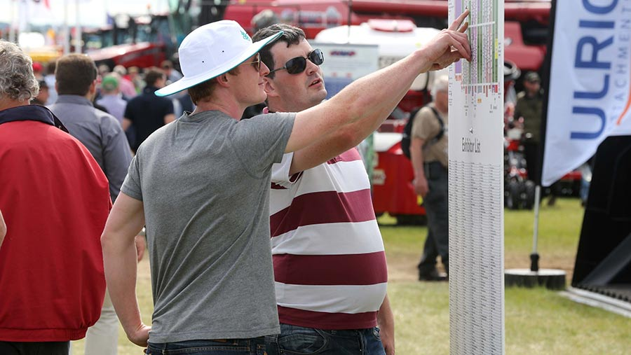 Two men consult the site map at Cereals