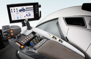 Valtra armrest and touchscreen