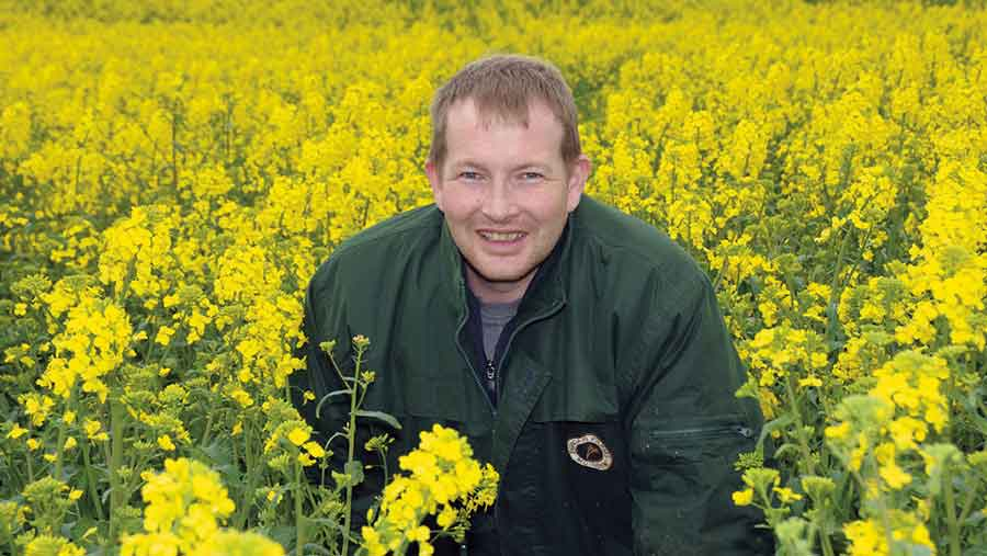 Sandy Norrie in OSR crop