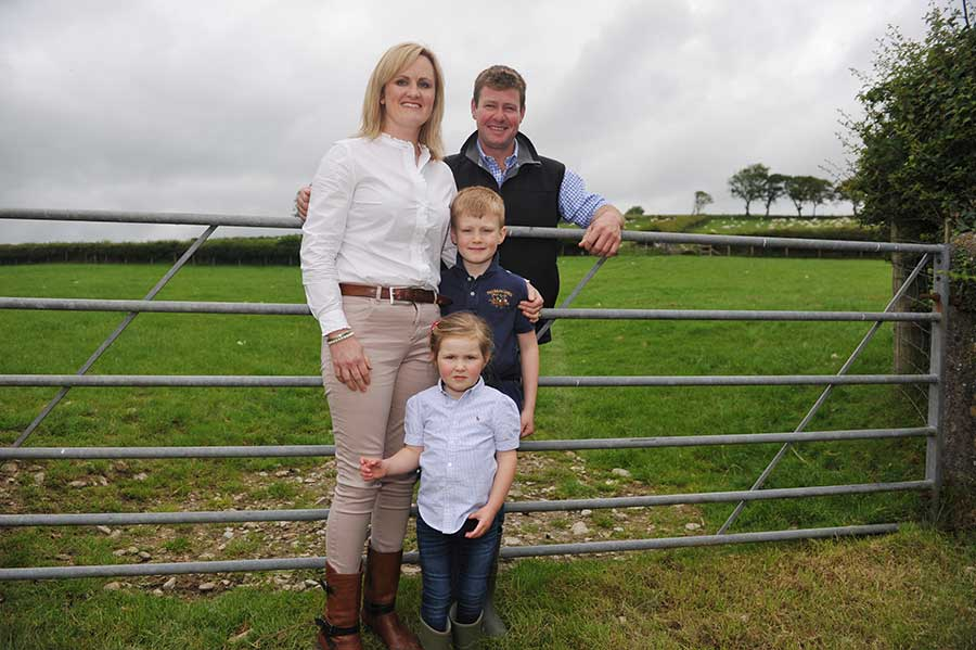 Sion and Claire Williams, pictured with their children, Harri and Cadi