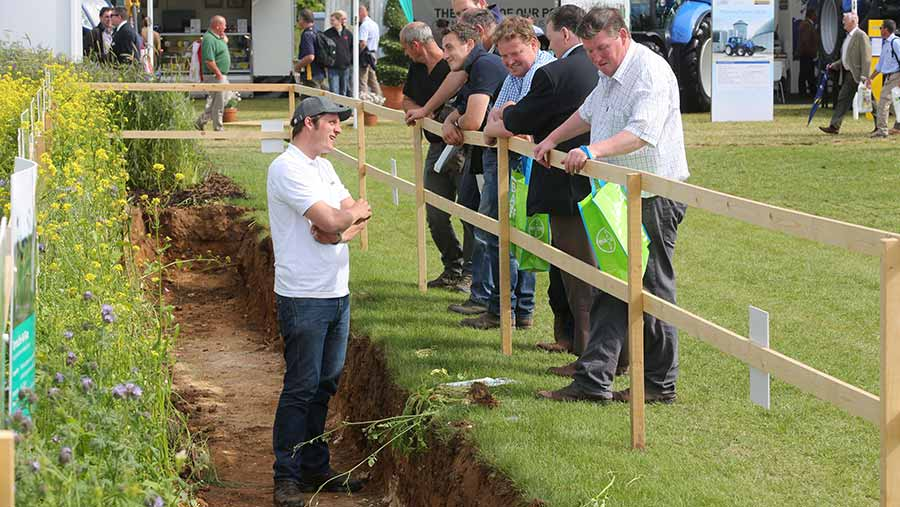 Visitors at the soil pit at Cereals