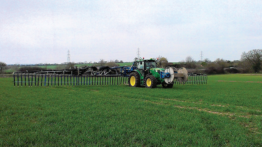ohn Deere HarvestLab system on an umbilical applicator working in a field
