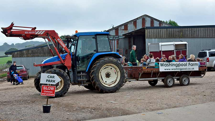 A tractor takes visitors around a farm