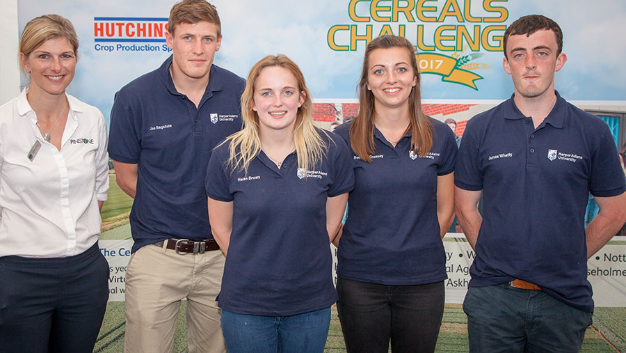 Left to Right: Catherine Linch (Pinstone Communications), Joe Bagshaw, Helen Brown, Becca Creasey, and James Whatty from Harper Adams University who picked up the prize for writing the best Cereals Challenge press briefing © Andrew Pennill