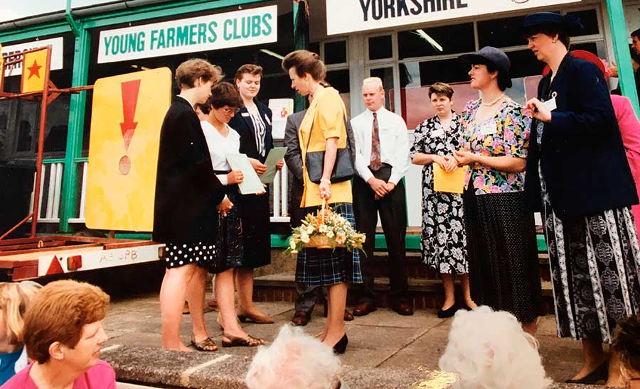 The Princess Royal pays a visit to the YFC stand in 1992