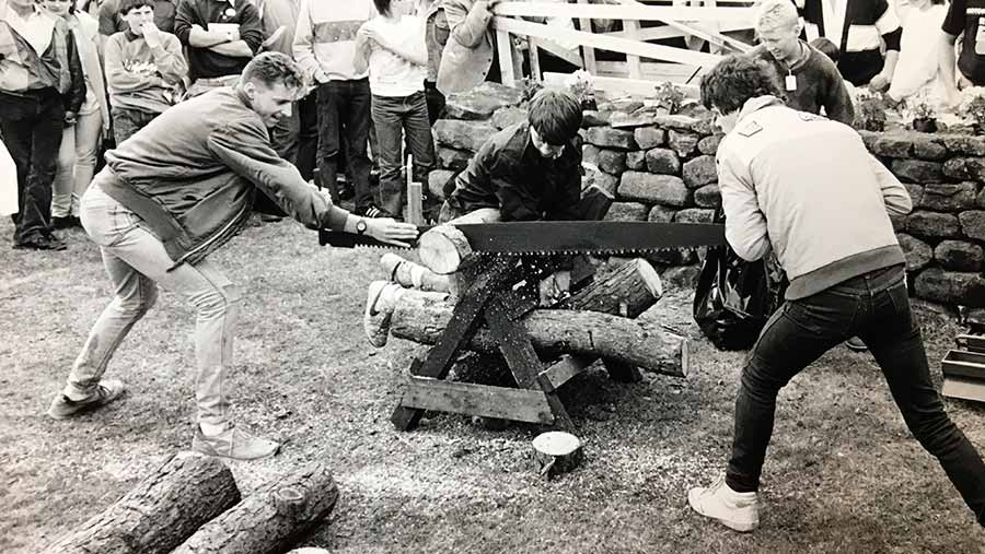Log sawing competition 1986