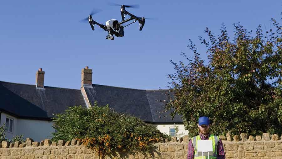 drone near buildings