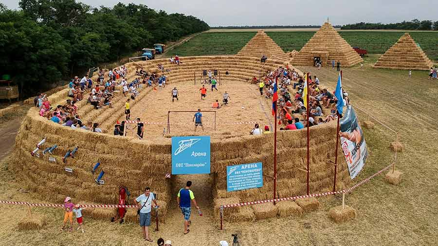 A football stadium built out of straw