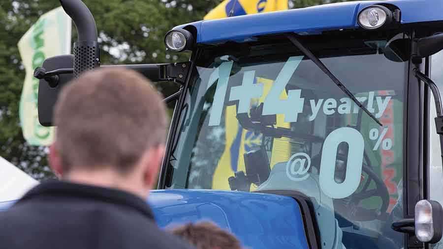 Tractor window with sales offer
