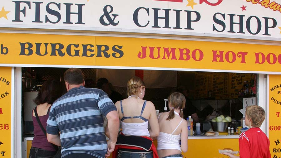 Queing and fish and chip stall © Jonathan Player/REX/Shutterstock
